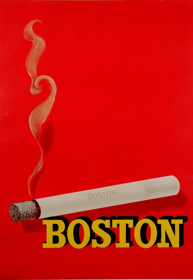 "Original Vintage French poster Advertising ""BOSTON"" Cigarettes 1950's"