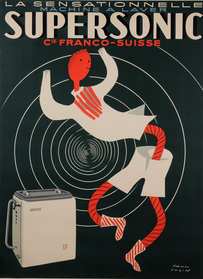 """Original Vintage French Poster for """"Supersonic - Machine a Laver"""" by Paul Colin"""