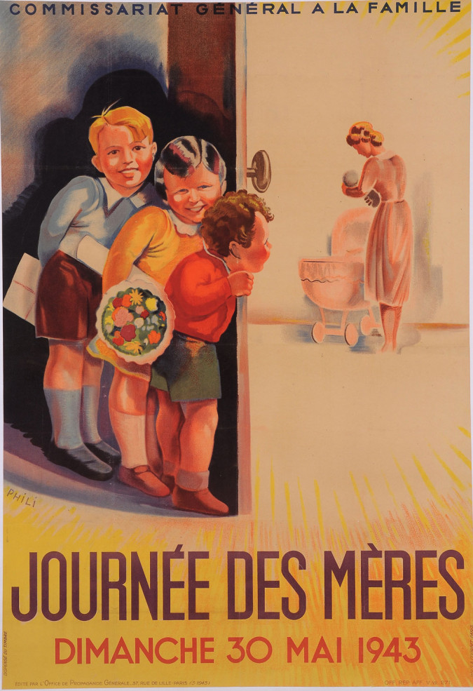 """Original Vintage French Poster Advertising """"Journee des Meres"""" by Phili 1943"""