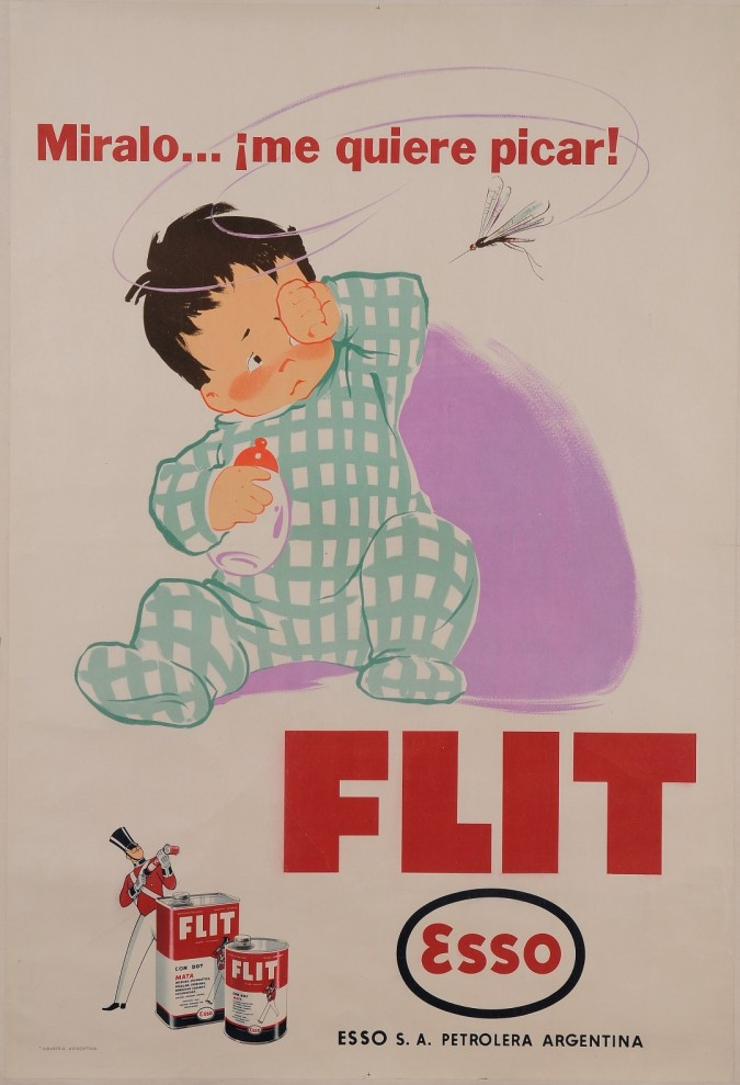 """Original Vintage Argentinian Poster """"Esso - Flit"""" Insecticide Mosquitoes 30-40's"""