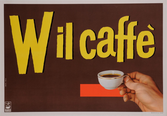 """Original Vintage Dutch Poster Advertising """"Wil Caffe"""" Coffee 1950's"""