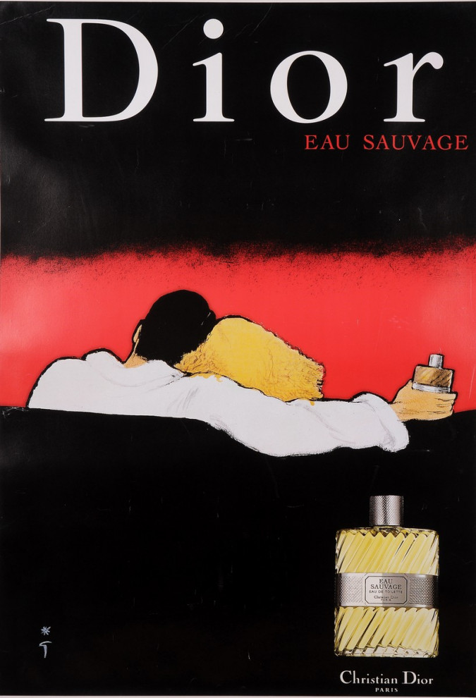 "Original Vintage French Poster Advertising ""Dior - Eau Sauvage"" Fragrance 1980's"