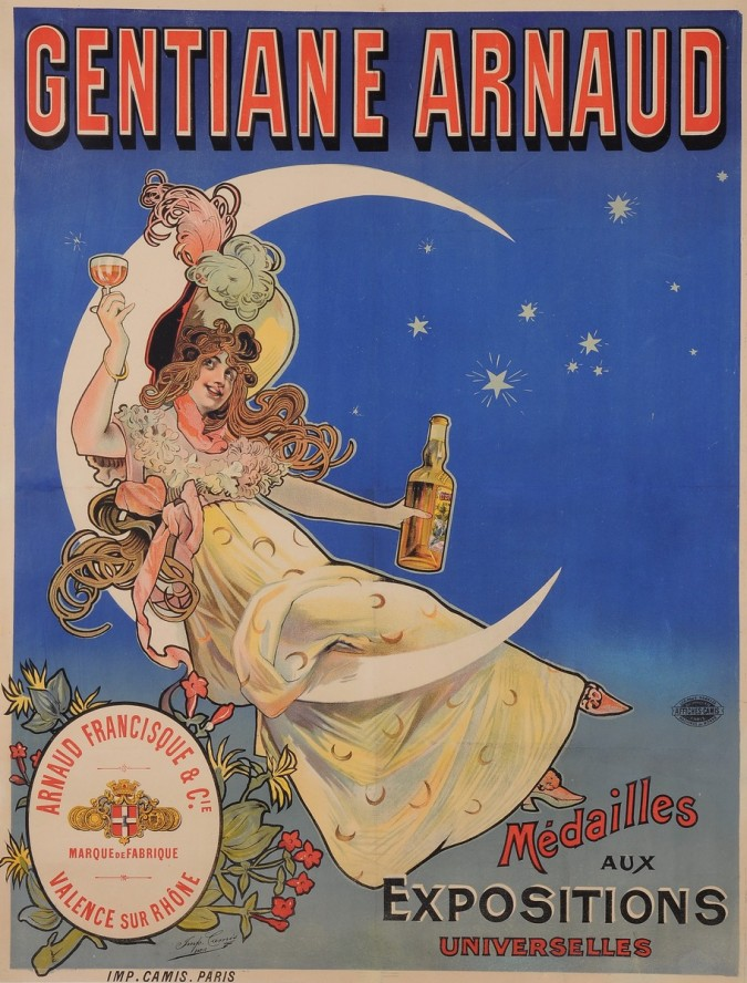 "Original Vintage French Alcohol Poster Advertising ""Gentiane Arnaud"" ca. 1900"