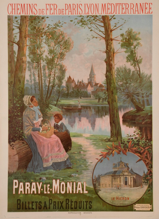 """Original Vintage French Travel Poster for """"Paray Le Monial"""" by F. Hugo D'Alesi"""
