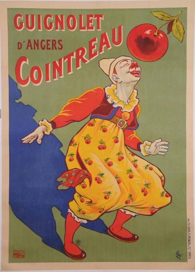 "Original Vintage French Alcohol Poster for ""Guignolet Cointreau"" by OGE 1907"