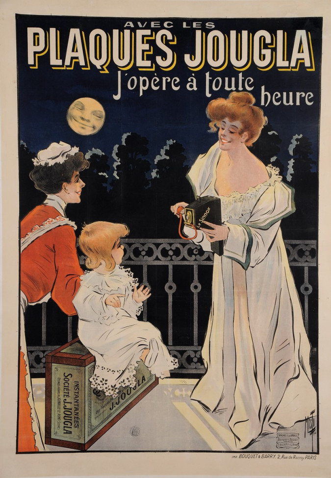 """Original Vintage French Poster for """"Plaques Jougla"""" Cameras by Misti 1902"""