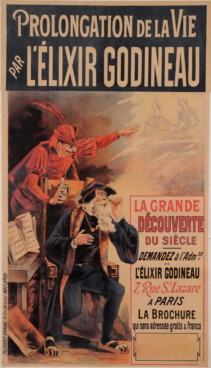 """Original Vintage French Poster for """"Prolongation L'Elixir"""" by Oge ca. 1892"""