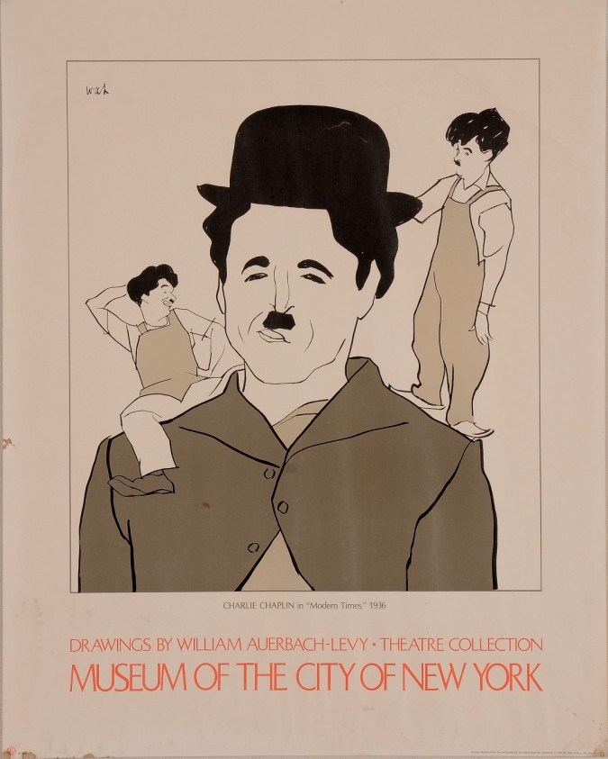 """Original Vintage Poster """"Drawings by William Auerbach-Levy"""" Charles Chaplin"""