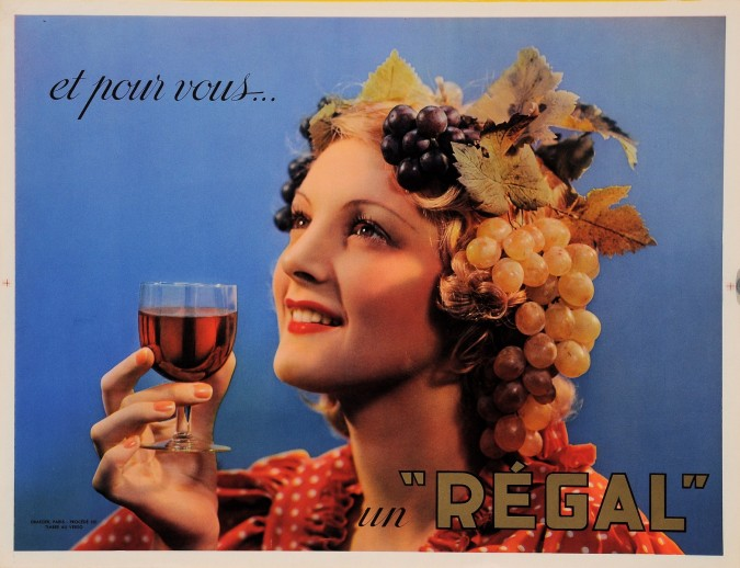 """Original Vintage French Poster Advertising """"Regal"""" Alcohol 1960's"""