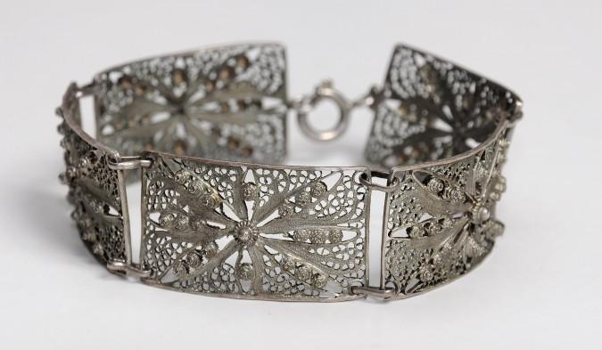 Chinese Ethnic Silver 5 Links Bracelet Artisan Filigree