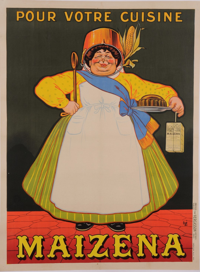"""Original Vintage French Poster for """"Maizena"""" Corn Starch by Oge ca. 1900"""