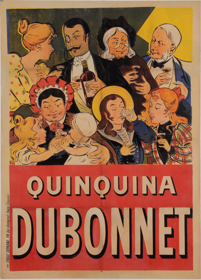 """Original Vintage French Alcohol Poster for """"Quinquina Dubonnet"""" by Oge ca. 1900"""