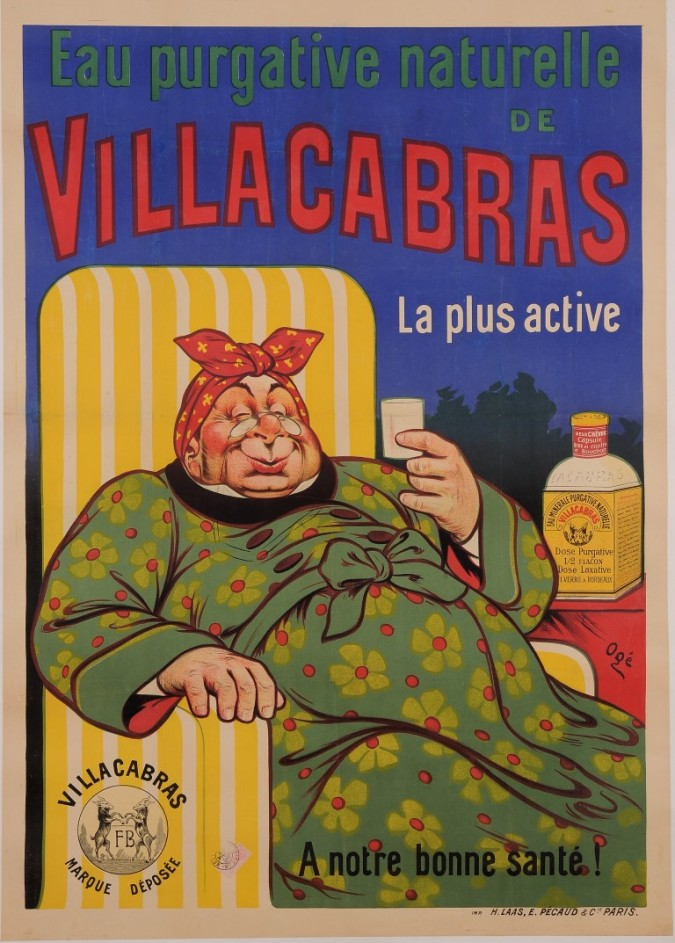 "Original Vintage French Poster for ""Villacabras - Eau Purgative Naturelle"" by Oge ca. 1907"