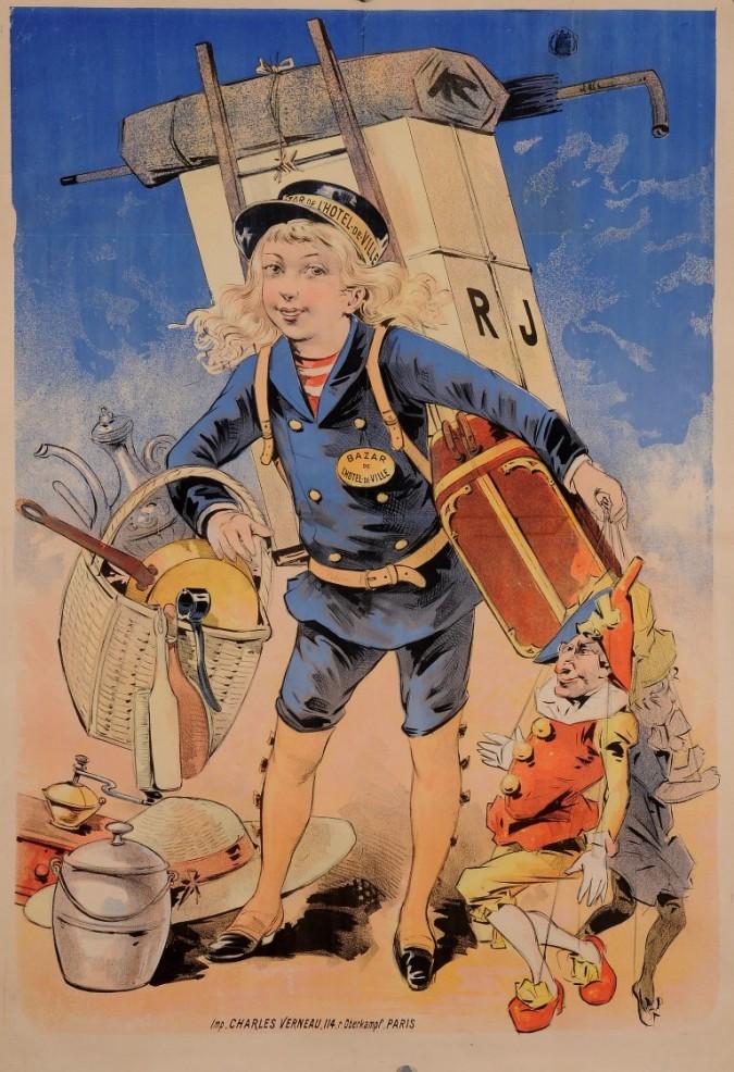 """Original Vintage French BEFORE LETTERS Poster for """"Bazar de l'Hotel de Ville"""" by Oge ca. 1909"""