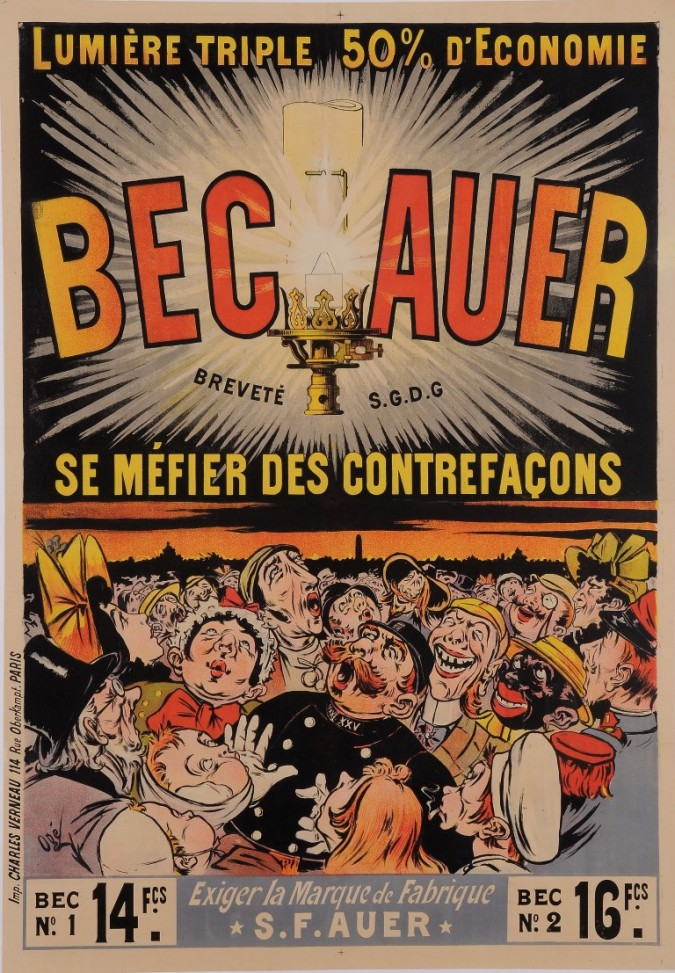 """Original Vintage French Poster for """"Bec Auer"""" Lightbulbs by Oge ca. 1897"""