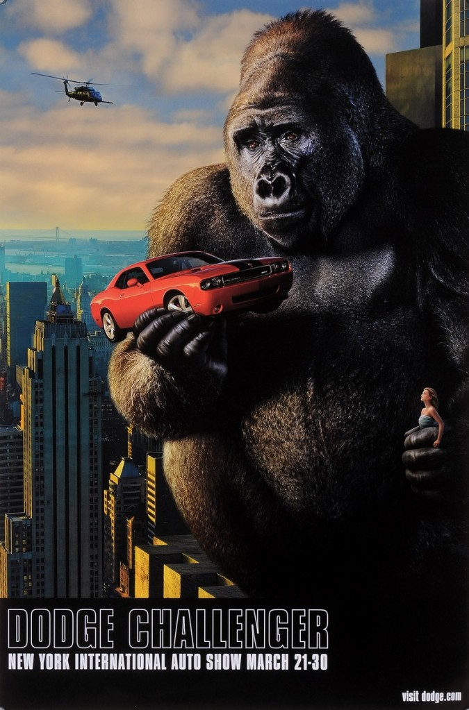 "Original American Poster for King Kong ""Dodge Challenger"" New York Auto Show 2000's"