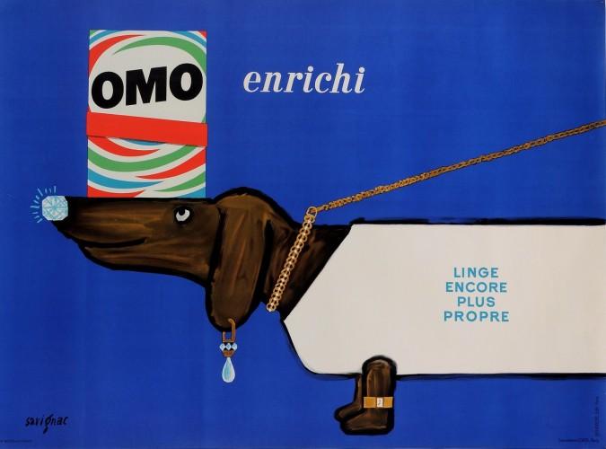 """Original French Poster Advertising """"OMO Enrichi"""" Detergrent by Savignac 1963"""