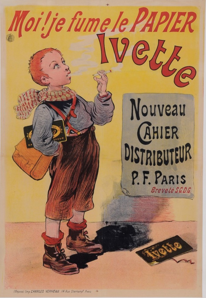 "Original Vintage French Children Poster for ""Ivette"" Rolling Cigrarette Paper by Oge ca. 1900"