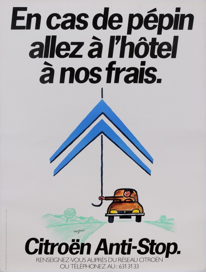 "Original Vintage French Poster for ""Citroen Anti-Stop"" Cars by Savignac 1980's"