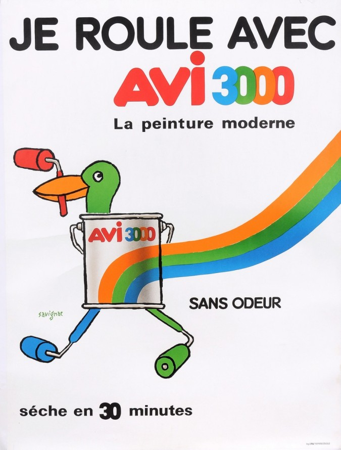 """Original Vintage French Poster for """"AVI 3000"""" Paint by Savignac 1980's"""