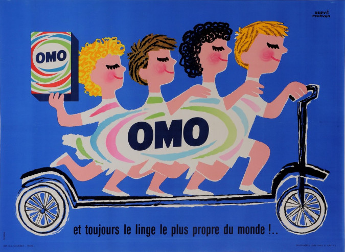 "Original French Poster Advertising ""OMO"" Detergrent by Herve Morvan 1950's"