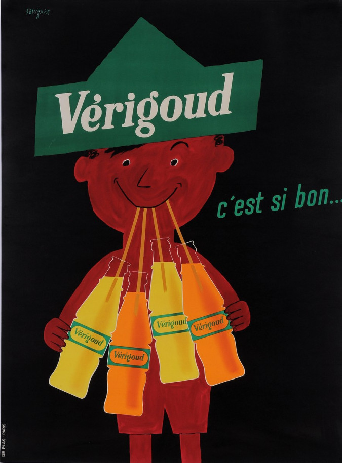 "Original Vintage French Poster  ""Verigoud"" Soft Drink by Savignac 1955"