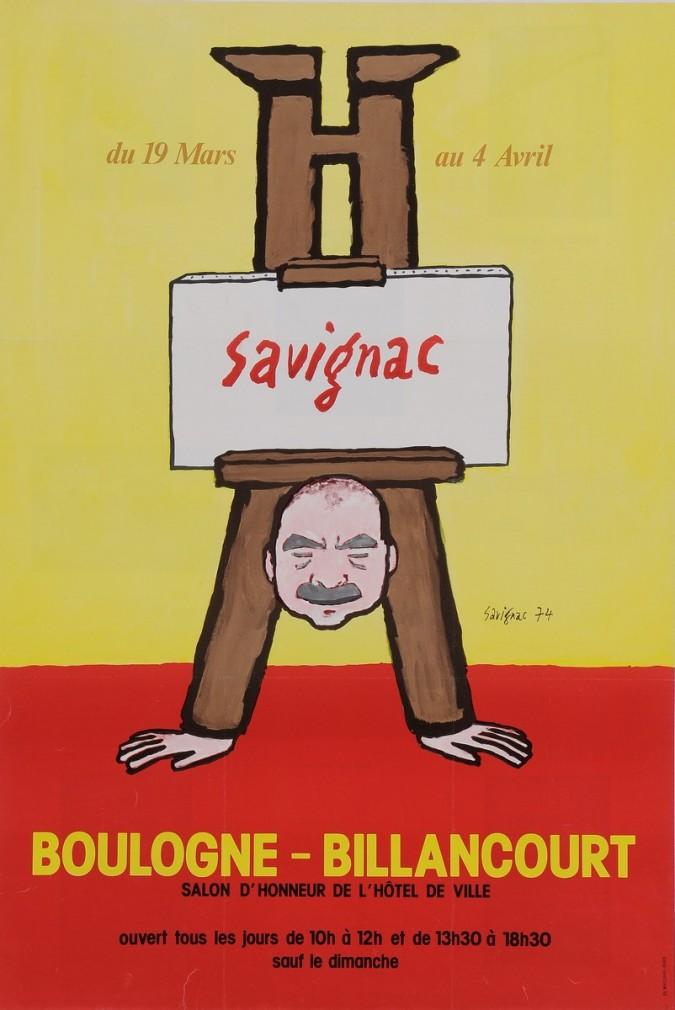 "Original Vintage French Poster for ""Savignac a Boulogne-Billancourt"" 1974"