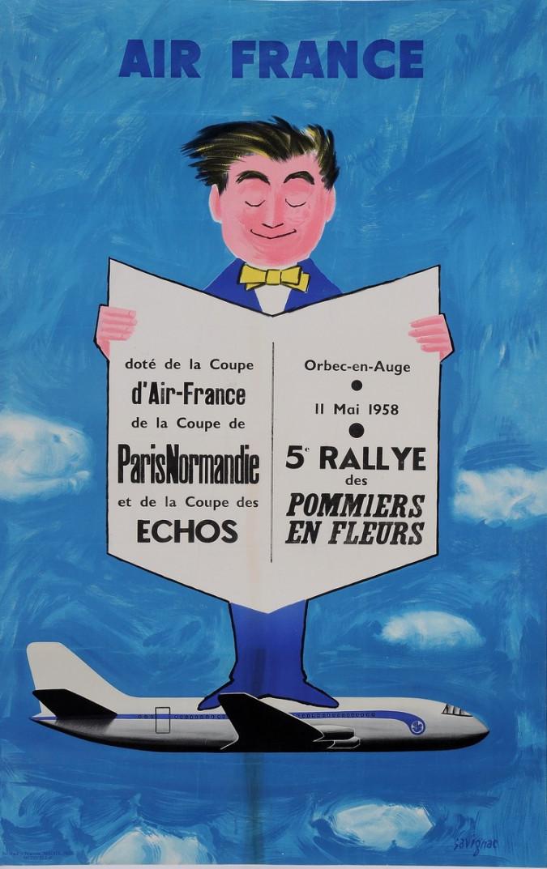 "Original Vintage French Travel Poster Advertising ""Air France"" by Savignac 1957"