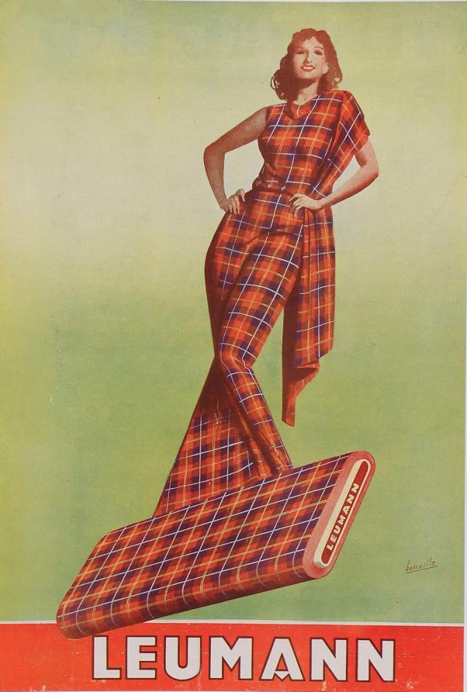 "Original Vintage Italian Fashion Poster Advertising ""Leumann"" by Boccasile 1942"