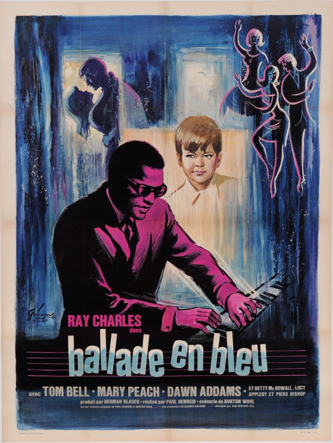 """Original Vintage French Movie Poster for """"Ray Charles - Ballade en Bleu"""" Jazz Performer Music by Grinsson 1965"""