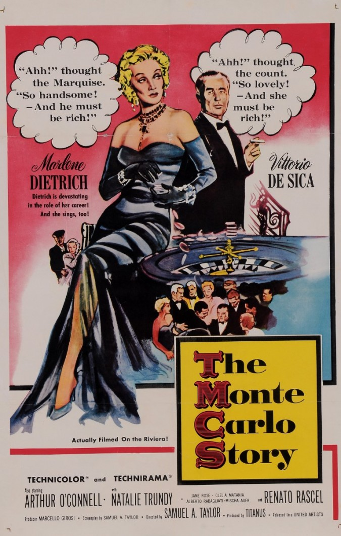 "Original Vintage French Poster for ""The Monte Carlo Story"" Dietrich De Sica 1970's"