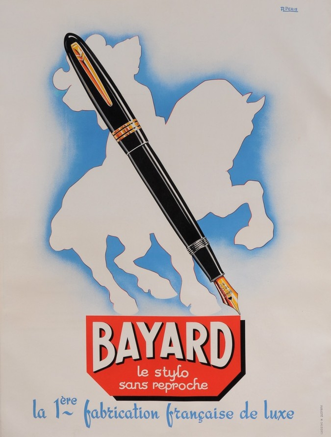 "Original Vintage French Poster for ""BAYARD - Le Stylo sans Reproche"" by A. Peris 1950's"