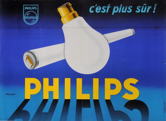 "Original Vintage French Poster for ""PHILIPS C'est Plus Sur"" by P. Muckens"