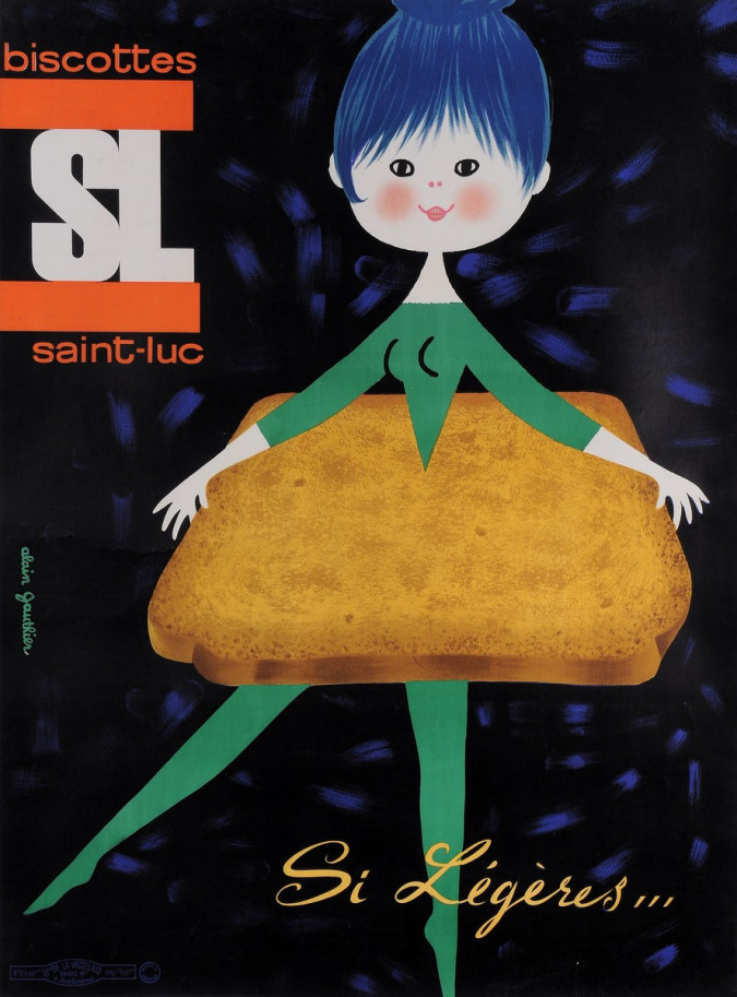 """Original Vintage French Poster for """" Biscottes SL Saint-Luc"""" by Alain Gauthier"""