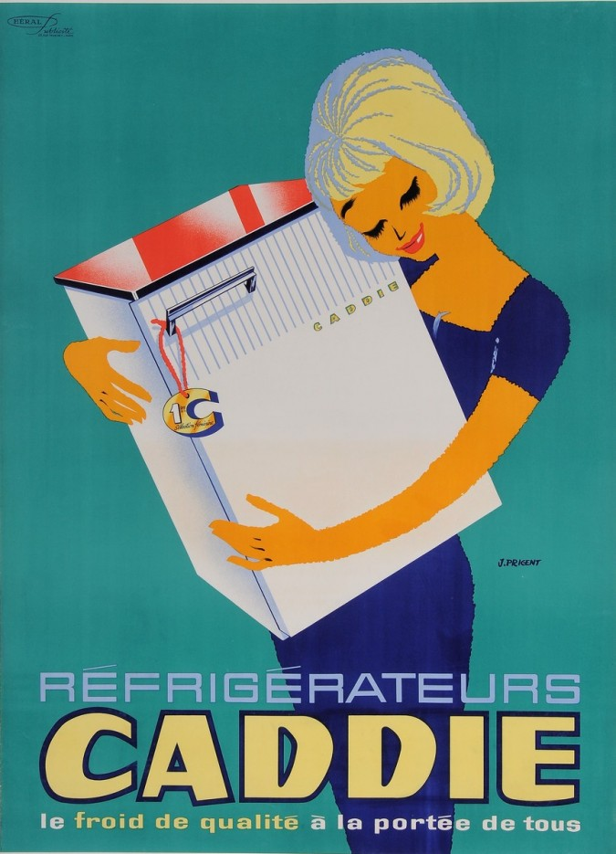 "Original Vintage French Poster for ""Refrigerateurs CADDIE"" by J. Prigent 1960's"