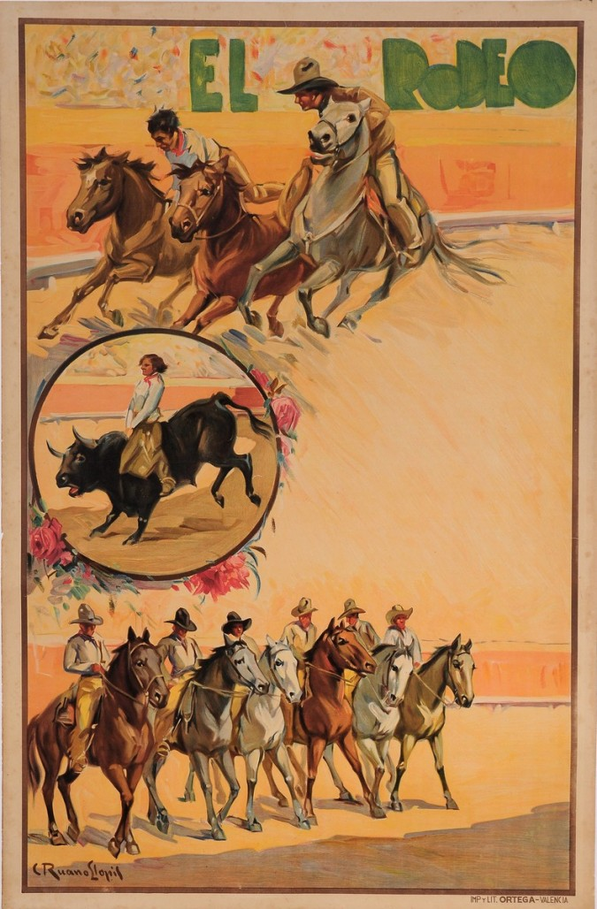 "Original Vintage Spanish Poster for ""EL RODEO"" by Carlos Ruanos Llopis ca. 1940"
