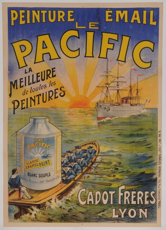 """Original Vintage French Poster for """"LE PACIFIC - Peinture Email"""" ca. 1910"""