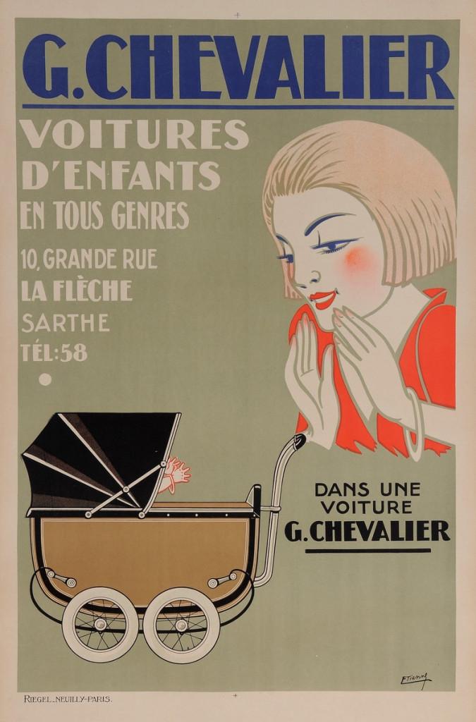 "Original Vintage French Poster for ""G. Chevalier - Voiture d'Enfants"" by Etienne"