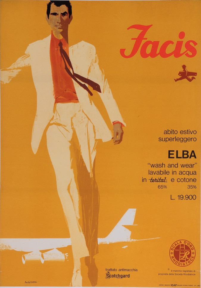 "Original Vintage Italian Fashion Poster for ""Facis"" by Ferenc Pinter 1963"