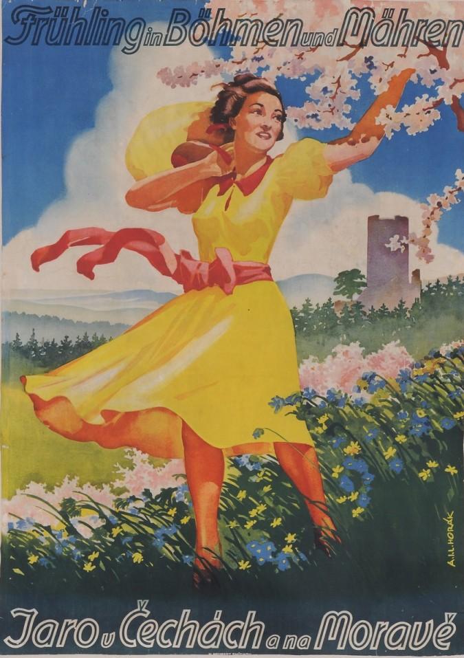"Original Vintage German Poster for ""Fruhling in Bohmen und Mahren"" by Horak"