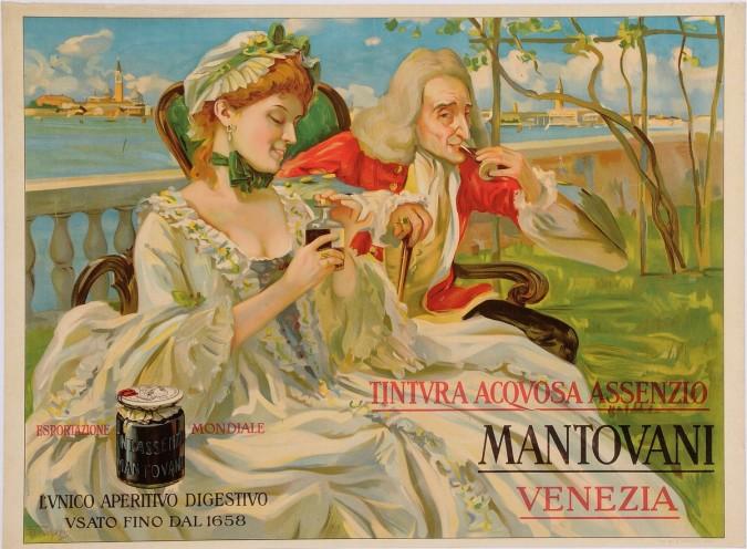 "Original Vintage Italian Alcohol Poster Advertising ""Mantovani Venezia"" Aperitif  ca. 1920"