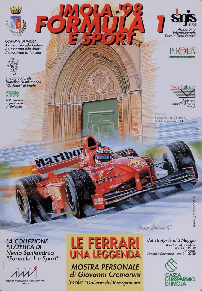 "Original Vintage Italian Race Poster Advertising ""IMOLA '98 Formula 1 E Sport"""