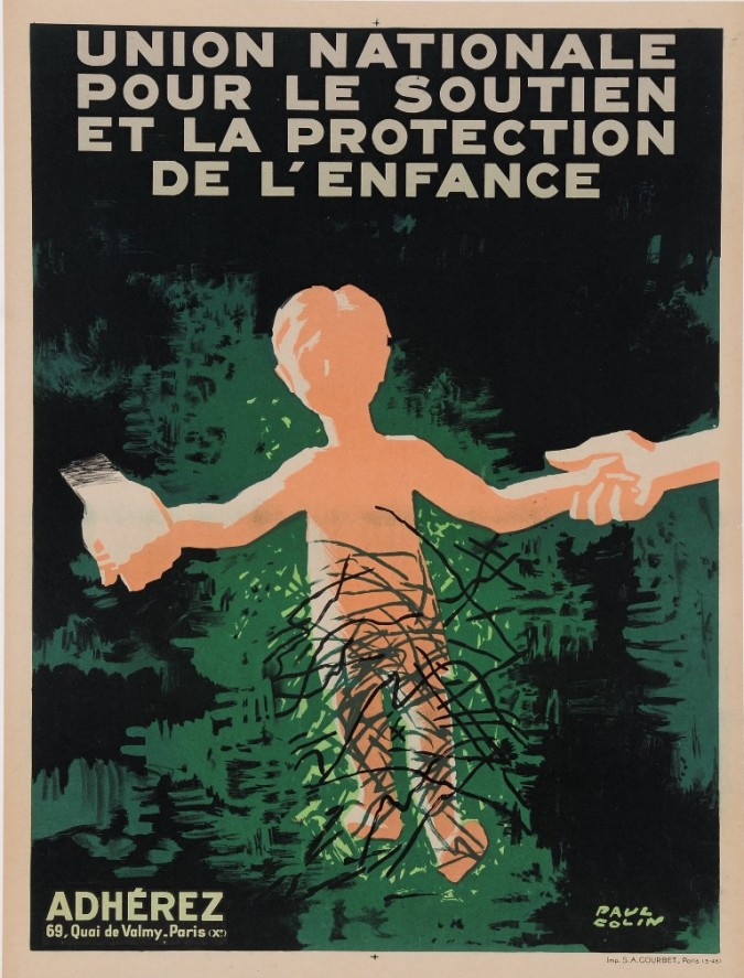 "Original French Propaganda Poster ""Union Nationale - Protection de L'Enfance"""