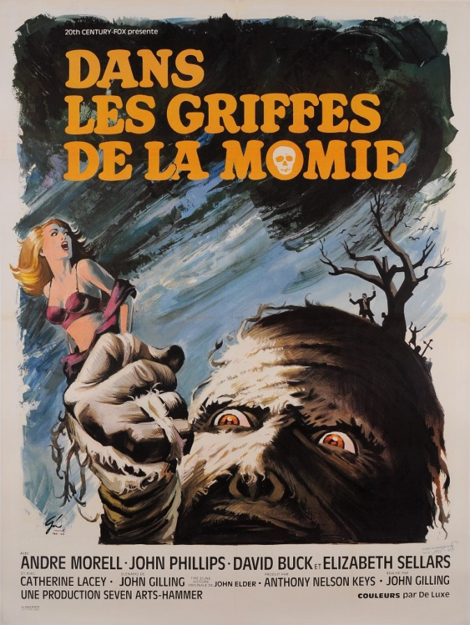 "Original Vintage French Movie Poster for ""DANS LES GRIFFES DE LA MOMIE"" by BORIS GRINSSON 1967"