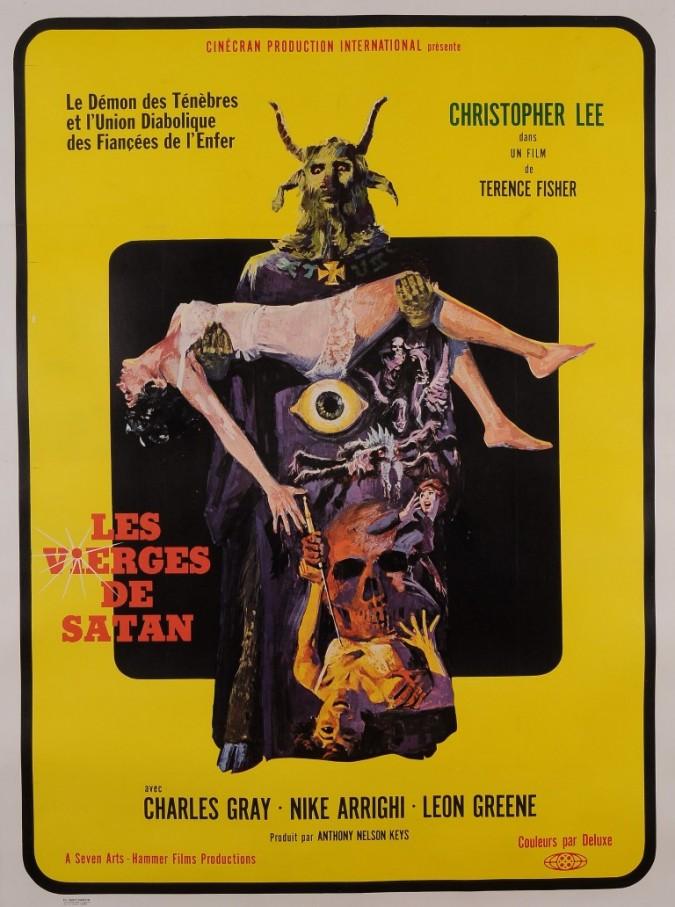 """Original Vintage French Movie Poster for """"LES VIERGES DE SATAN"""" 1968"""