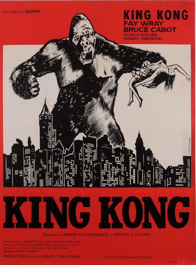 """Original Vintage French Movie Poster for """"KING KONG"""" by F. DEFLANDRE 1960's"""