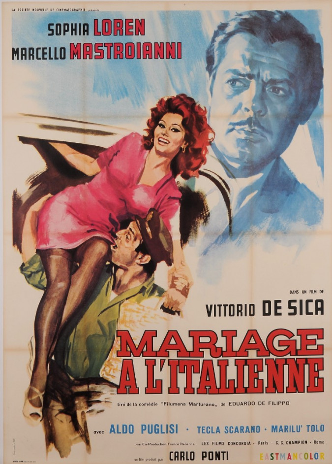 """Original Vintage French Movie Poster for """"MARIAGE A L'ITALIENNE"""" by LUCA CROVATO 1964"""