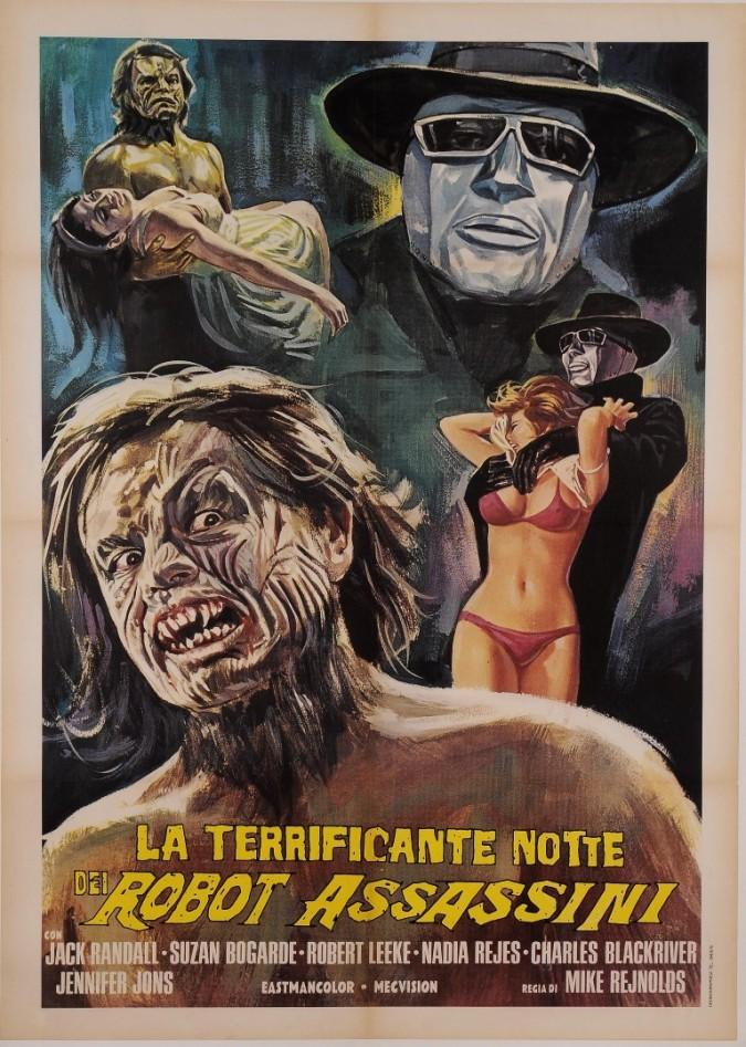 """Original Vintage Italian Movie Poster for """"LA TERRIFICANTE NOTTE DEI ROBOT ASSASSINI"""" ca. 1969"""