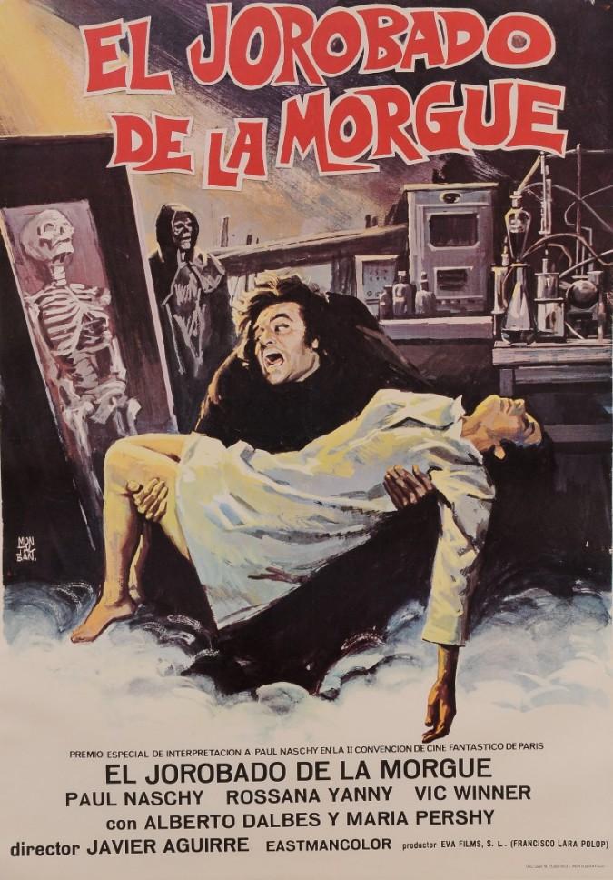 """Original Vintage Spanish Movie Poster for """"EL JOROBADO DE LA MORGUE"""" by MONTALBAN 1973"""