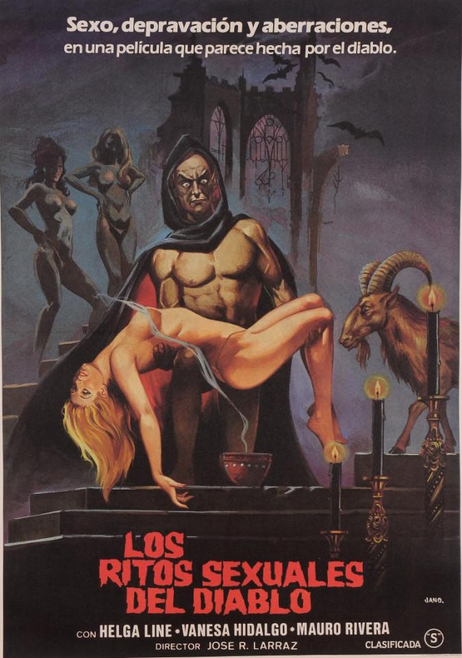 """Original Vintage Spanish Movie Poster for """"LOS RITOS SEXUALES DEL DIABLO"""" by Jano 1982"""